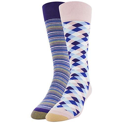 Gold Toe Men's Dress Crew Socks, 2 Pairs, Diamonds/Stripes, Shoe Size: 6-12.5