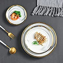 ETHome 3-piece Ceramic Dinnerware Set, Grey Marble Design With Golden Edge,Suitable For Dinner Appetizer Salad Dessert Snack