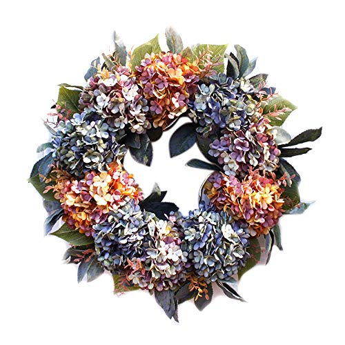 UXZDX CUJUX 56cm Artificial Garland Outdoor Summer Wreaths Home Front Door Hanging Decoration Wedding Party Wreath with Green Leaves