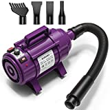 Burano Dog Dryer, High Velocity Pet Hair Dryer, 4.0HP Stepless Adjustable Speed Dog Hair Force Dryer for Dogs, Cats & More, Powerful Pet Blower with Heater