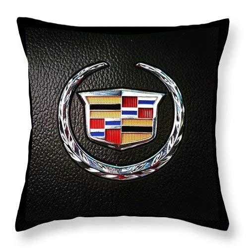 Lplpol Funda de cojín cuadrada de algodón y lino con emblema de Cadillac 45,7 x 45,7 cm