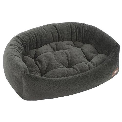 Jax and Bones 24 x 21 x 7-Inch Ripple Velour Napper Dog Bed, Small, Granite