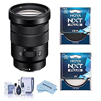 Sony E PZ 18-105mm F4.0 G OSS E-Mount Lens - Bundle with Hoya NXT Plus 72mm 10-Layer HMC UV Filter Hoya 72mm NXT Circular Polarizer Filter Cleaning Kit Microfiber Cloth