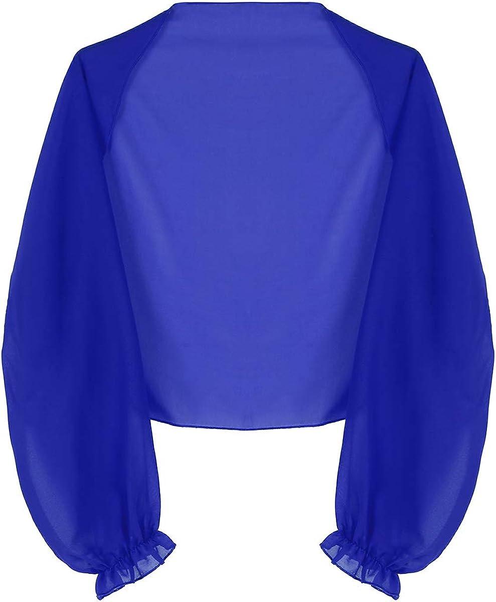 YiZYiF Women's Open Front Long Sleeve Chiffon Scarves Shrug Cropped Bolero Cardigan Top