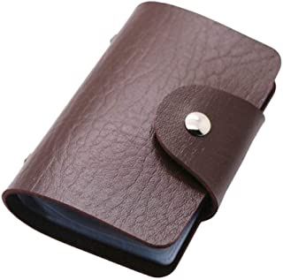 REALMAX Card Holder 24 Slots Black Mens Luxury Soft PU Leather Credit Debit Visiting Wallet Case Purse Pocket Business ID...