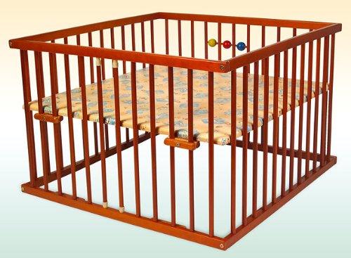Kidsmax Laufgitter Laufstall David 100x100 Farbe Teak braun lackiert inkl. Holzkugeln, Polsterboden, Schlupfsprossen, Höhenverstellung und Rollen