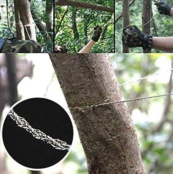 Scie de poche en acier inoxydable, 70 cm de longueur totale, scie à fil améliorée pour bois et plastique, petite maniable et rapide, idéale pour l'extérieur, le camping