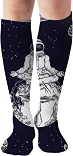 Image Astronaut Pose Lotusplanets Unisex Elastic Long Socks Compression Knee High Socks for Sports, Running, Travel 19.7 Inch