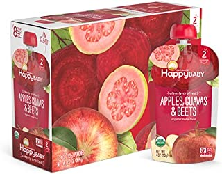 Happy Baby Organic Clearly Crafted Stage 2 Baby Food Apples, Guavas & Beets, 4 Ounce Pouch (Pack of 16)