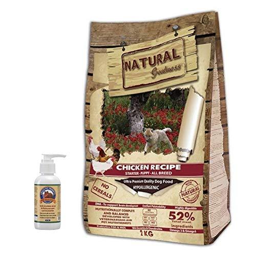NATURAL GREATNESS - Pienso Natural Sin Cereales de Pollo para Perros Cachorros y Razas Toy HIPOALERGÉNICO Saco 2 kg + Aceite Salmón Grizzly 125 ml | ANIMALUJOS