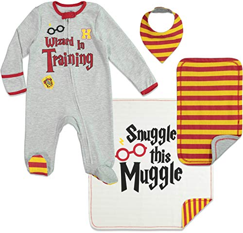 Harry Potter Conjunto de Canastilla de Bebé con Pelele Manta Toalla de Lactancia Snuggle Muggle