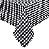 Black and White Buffalo Plaid Tablecloth, Checked GinghamTable Cloth, Cotton Linen Grid Table Cover for Kitchen Dining Room Picnic, FarmhouseCountryside Style TabletopSquare 55 x 55 inch