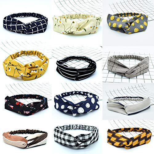 Bandeaux pour Femmes 12Packs Vintage élastique Imprimé Head Wrap Stretchy Moisture Hairband Twisted Cute Hair Accessories