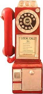Flykee clásico Girar Reloj de Esfera Clásica Modelo de Teléfono Pago Retro Stand Decoración del Hogar Ornamento, Rojo
