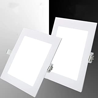 Pack 4x Downlight LED Led Panel light Cuadrado 15W 6500K blanco frio Ultradelgado LED Panel Downlight Iluminaci/ón interior Para oficina hogar pasillo dormitorio pasillo Hall Sala de estar