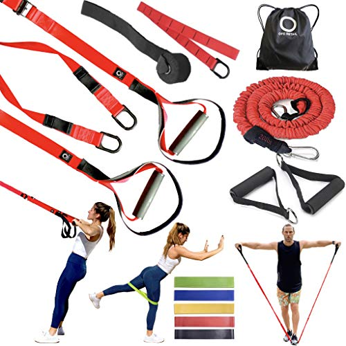 OPG Bodyweight Resistance Training Bundle 3 in 1 | Home Suspension Trainer Straps with Door Anchor | Full-Body Workouts Kit for Home & Travel | Home Gym, Fitness Equipment Straps for Indoor & Outdoor