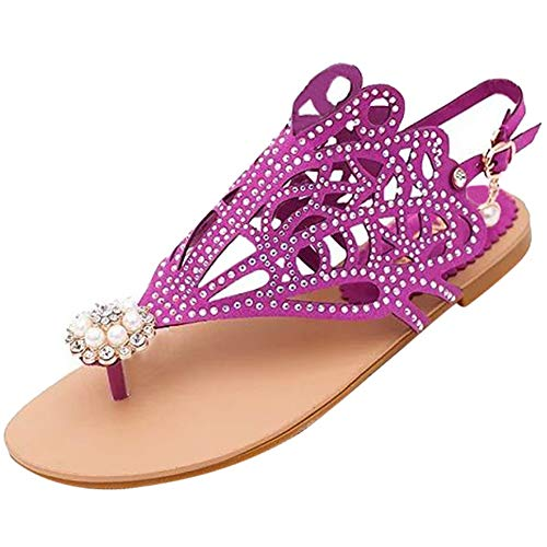 Mujeres Planas Sandalias Verano Vintage Roma Estilo pedrería Tacones Altos Zapatos Casuales de Playa al Aire Libre de la Tira del Tobillo Peep Toe Flats
