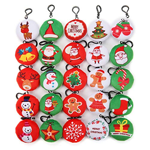KINGSO 25Pcs Mini Emoji Christmas Ornaments Plush Pillow Emoticon,Christmas Decorations Party Home Decoration and Party Favor (Christmas Emoji)