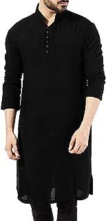 Mens Abaya Thobe Arabic Longline T Shirts Henley Kaftan Banded Collar Plain Gown Shirts