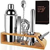 Cocktail Shaker Set Bartender Kit-10 Pcs Stainless Steel Martini Shaker Set with Bamboo Stand Includes a 25 oz Shaker to Make Mixing Wonderfu