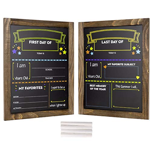 """First Day and Last Day of School Chalkboard: Wooden Frame Photo Prop Board Sign for Kids. Erasable Reusable 13.25"""" x 10.875"""". White Chalk Included. Set of 2 Boards."""