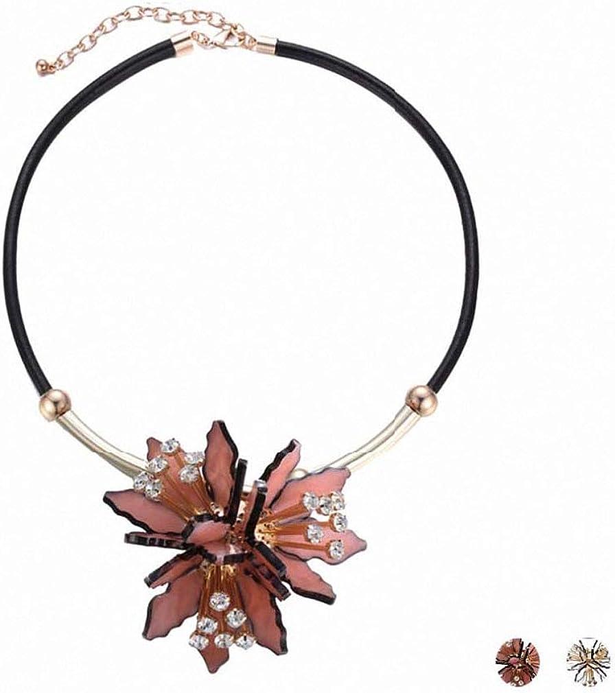 Xileg Acrylic Flower Statement Pendants Necklaces Women PU Leather Rhinestone Chain Collar Necklace Jewelry