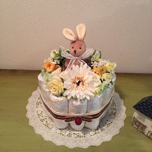 おむつケーキ 1段 Cute 3500 (パンパースSサイズ, イエロー)