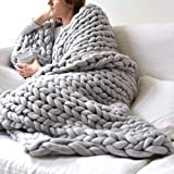 EASTSURE Chunky Knit Blanket Bulky Throw Merino Wool Hand Made Bed Sofa Throw Super Large,Grey,40'x47'