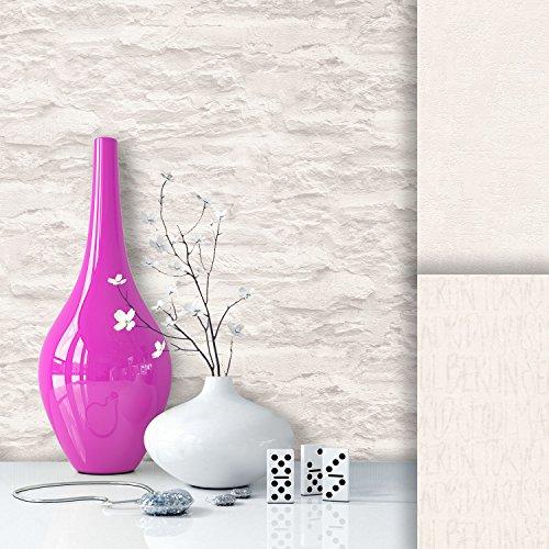 Steintapete Vliestapete Weiß Creme Edel , schöne edle Tapete im Steinmauer Design , moderne 3D Optik für Wohnzimmer, Schlafzimmer oder Küche inklusive der Newroom Tapezier Profibroschüre mit super Tipps!