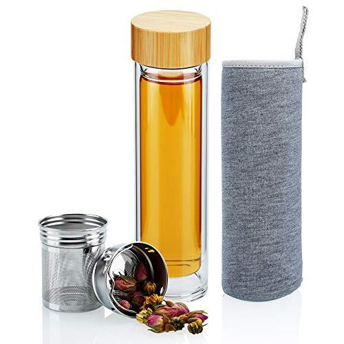 Intirilife Botella de Doble Pared para infusión 400-500 ml en Claro CRISTALINO - Botella de Agua de Vidrio borosilicato con Filtro de Acero Inoxidable, Bolsillo de Neopreno y Tapa de bambú