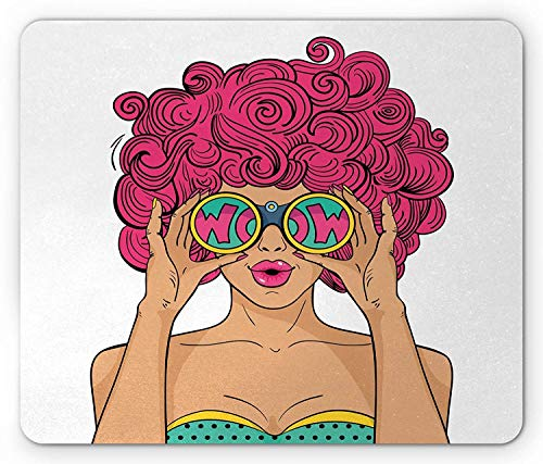Curly Hair Mouse Pad, Wow Face Funky Sexy Woman with Funny Glasses Comic Hippie Fashion Kitsch Cartoon, Standard Size Rectangle Non-Slip Rubber Mousepad, 9.8 X 11.8 Inch