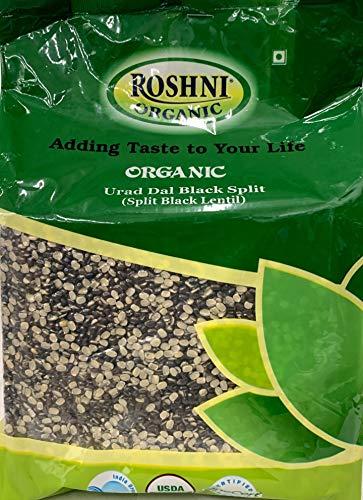 Roshini Organic Urad Dal Black Split (Split Black Lentil) - 1634 Grams - USDA Organic Certified