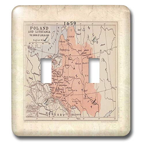 2 Gang Wall Plate Cover Decorator Wall Switch Light Plate Double Toggle Switch'1569 Map of Poland N Lithuania Classic Beadboard Unbreakable Faceplate
