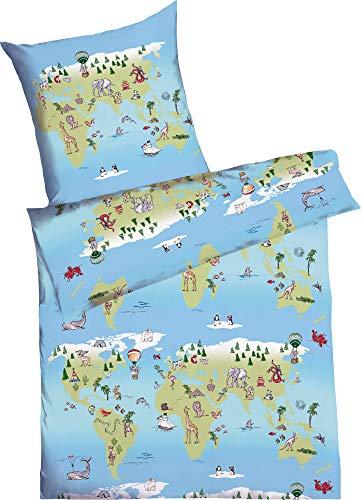 Kaeppel Kinder-Bettwäsche Around The World Renforcé hellblau Größe 135x200 cm (80x80 cm)