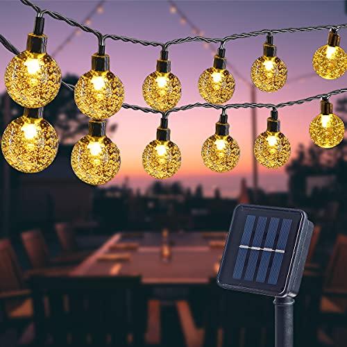 ITICdecor Catena Stringa Luminosa Solare Crystal Globe 40 LED Giardino Luci Esterno Impermeabile Alberi Terrazze Natale Matrimoni Feste Bianco Caldo