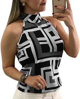 Señoras Verano Estampado geométrico Halter Chaleco Tops sin Mangas Cami Camisola Casual Tank Top Camiseta Blusa Talla Grande