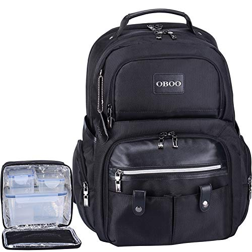 OBOO Business Travel Laptop Lunch Backpack with Removable Large Insulated Tote Lunch Box -3 Meals Management Lunch bag for Men&Women Cooler Backpack Fits 15.6 Laptop Notebook,Ice Pack Fitness Backpack