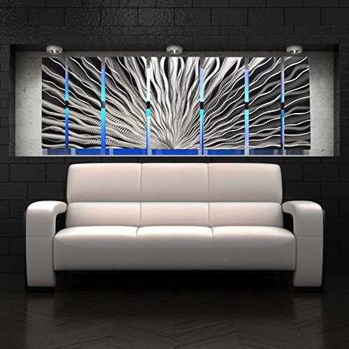 '7 Panel Vibration LED' Color Changing LED Lighted Metal Wall Art Modern Abstract Sculpture Painting...