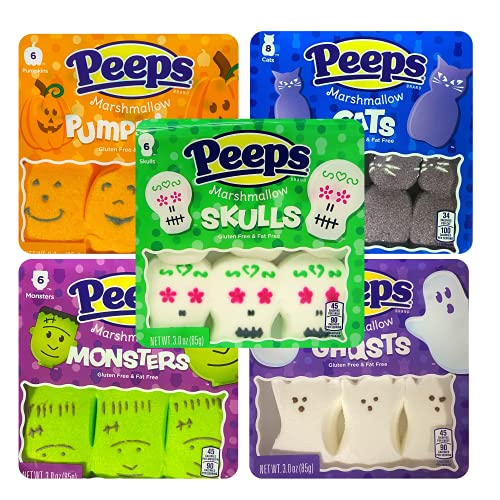 Peeps Marshmallows Candy Halloween Spooky Shaped Bundle, Sugar Coated Candy Character Shaped Marshmallow, Pack of 5, 32 Pieces
