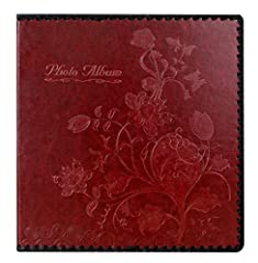 """Large leather photo album size:leather Hardcover length 10.6x Width 11.5 (inches), self-adhesive white page length 10.2 x Width 11 (inches),and comes with 20 sheets (40 pages) Can hold all size photos of 3""""X5"""", 4""""X6"""", 5""""X7"""", 6""""X8"""" and 8""""X10"""", and any..."""