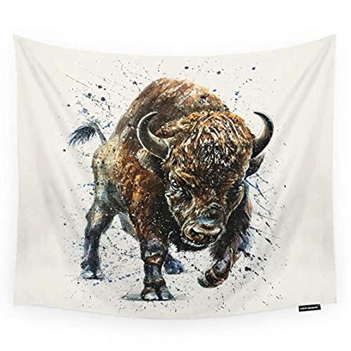 Arazzo di bufalo da appendere alla parete acquerello animale Bisonte Buffalo Art Design Camera Decorativa Parete Arazzo per Uomini/Donne/Ragazza/Ragazzo Poliestere 60 'X 90'