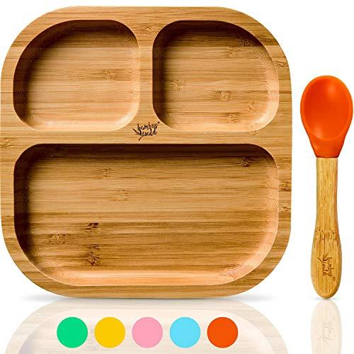 bambuswald© vajilla para niños con ventosa y cuchara   plato para niños...