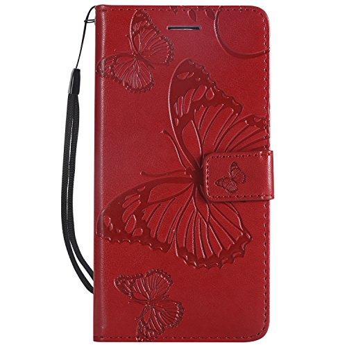 Hülle für LG K8 K350N / K7 X210 Hülle Handyhülle [Standfunktion] [Kartenfach] [Magnetverschluss] Tasche Flip Case Cover Etui Schutzhülle lederhülle klapphülle für LG K8 / LG K7 - DEKT041384 Rot