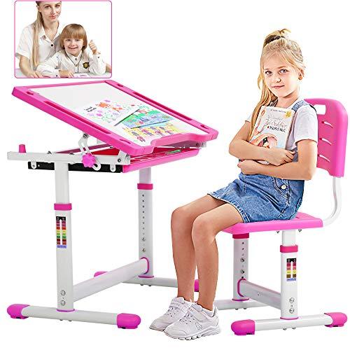 Kids Desk and Chair Set Children Writing Student Desk Height Adjustable Ergonomic Children Table Can Tilt Desktop, with Drawer Childs Study School Desk Interactive Workstation Kids Art Writing Desk