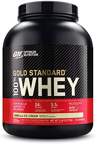 Optimum Nutrition 100 Percent Vanilla Ice Cream Whey Gold Standard Supplements, 5 lbs, 2.27 Kg