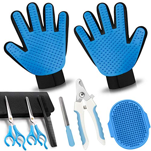 COMBOMTEK Dog Grooming Glove for Dogs and Cats, Pet Hair Remover for Dogs and Cats, Cat Shedding Brush with 259 Tips, Efficient Shedding Glove, Massage Mitt, Perfect for Dogs, Cats (Sky Blue - 3)