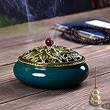 Mini Porta Incenso in Ceramica,Bruciatore di Incenso in Ceramica,Bruciatore per Porta Incenso,Ideale per Yoga,Rilassarsi, Meditazione o Casa Ufficio Coni+Bobine di Incenso (Dark Green)