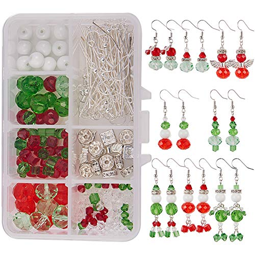 SUNNYCLUE 1 Box DIY Make 8 Pairs Christmas Crystal Bead Dangle Earring Making Kits White Snowman Red Angel Glass Bead Xmas Tree Dangle Earrings Jewelry Making Supplies for Women Girls, Instruction