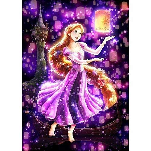 Prinzessin Rapunzel Tanzen mit Laternen DIY Malerei Kit 5D Diamant Stickerei Figur Kreuzstich DIY Volle Hand Wohnkultur Geschenk
