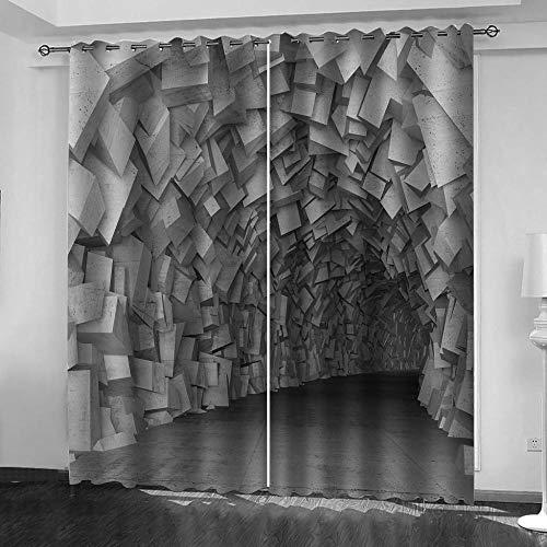 JTBDWOSK® 3D Kinderzimmer Verdunkelungsvorhänge Abstrakter Tunnel 182 X 214 cm (B X...